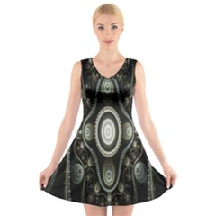 Fractal Beige Blue Abstract V Neck Sleeveless Skater Dress
