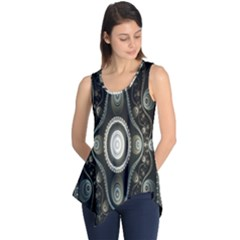 Fractal Beige Blue Abstract Sleeveless Tunic