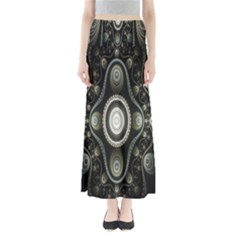 Fractal Beige Blue Abstract Maxi Skirts