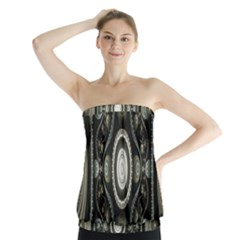 Fractal Beige Blue Abstract Strapless Top