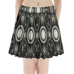 Fractal Beige Blue Abstract Pleated Mini Skirt