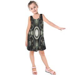Fractal Beige Blue Abstract Kids  Sleeveless Dress
