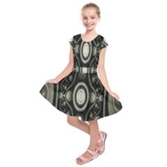 Fractal Beige Blue Abstract Kids  Short Sleeve Dress