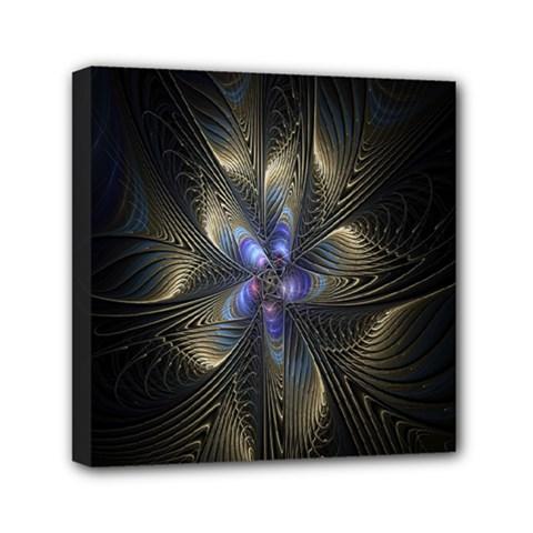 Fractal Blue Abstract Fractal Art Mini Canvas 6  x 6