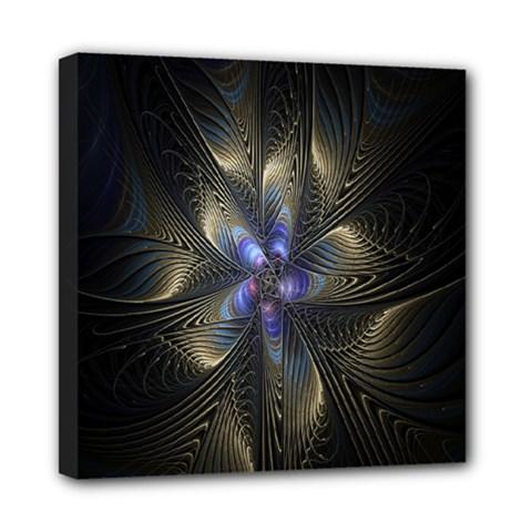 Fractal Blue Abstract Fractal Art Mini Canvas 8  x 8