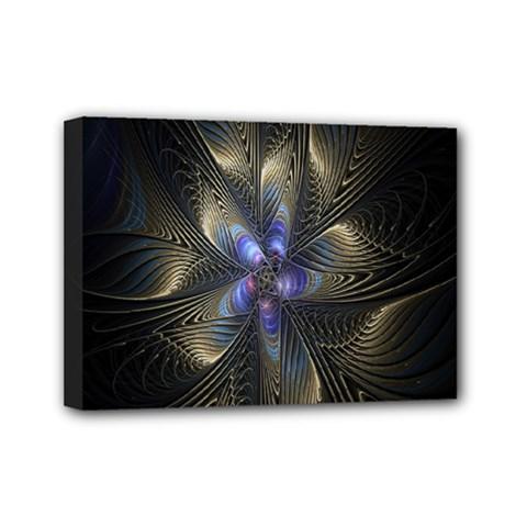 Fractal Blue Abstract Fractal Art Mini Canvas 7  x 5