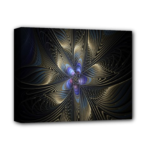 Fractal Blue Abstract Fractal Art Deluxe Canvas 14  X 11