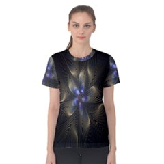 Fractal Blue Abstract Fractal Art Women s Cotton Tee
