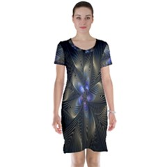 Fractal Blue Abstract Fractal Art Short Sleeve Nightdress
