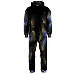 Fractal Blue Abstract Fractal Art Hooded Jumpsuit (men)