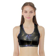 Fractal Blue Abstract Fractal Art Sports Bra With Border