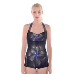 Fractal Blue Abstract Fractal Art Boyleg Halter Swimsuit