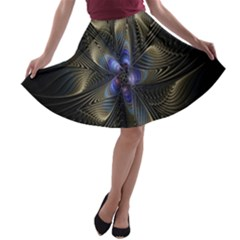 Fractal Blue Abstract Fractal Art A Line Skater Skirt