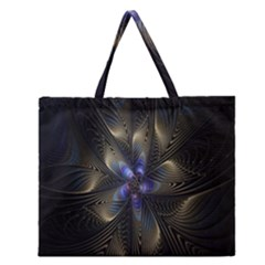 Fractal Blue Abstract Fractal Art Zipper Large Tote Bag