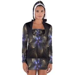 Fractal Blue Abstract Fractal Art Women s Long Sleeve Hooded T-shirt