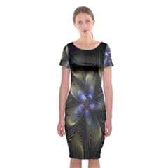 Fractal Blue Abstract Fractal Art Classic Short Sleeve Midi Dress