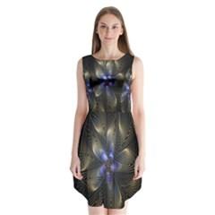Fractal Blue Abstract Fractal Art Sleeveless Chiffon Dress