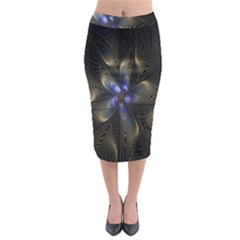 Fractal Blue Abstract Fractal Art Midi Pencil Skirt