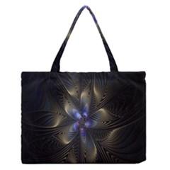Fractal Blue Abstract Fractal Art Medium Zipper Tote Bag