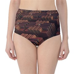 Fractal 3d Render Futuristic High-Waist Bikini Bottoms