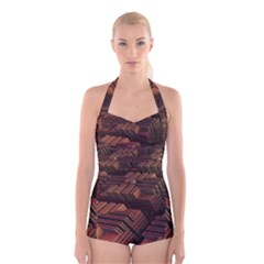 Fractal 3d Render Futuristic Boyleg Halter Swimsuit