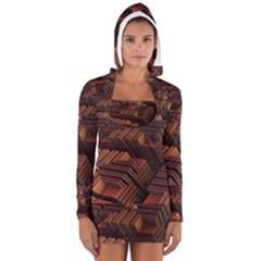 Fractal 3d Render Futuristic Women s Long Sleeve Hooded T Shirt