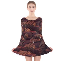 Fractal 3d Render Futuristic Long Sleeve Velvet Skater Dress
