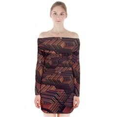 Fractal 3d Render Futuristic Long Sleeve Off Shoulder Dress