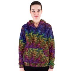 Fractal Art Design Colorful Women s Zipper Hoodie