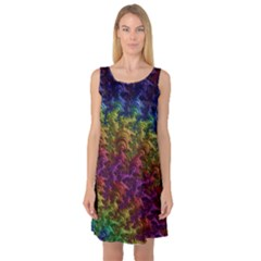 Fractal Art Design Colorful Sleeveless Satin Nightdress