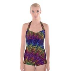 Fractal Art Design Colorful Boyleg Halter Swimsuit
