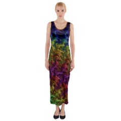 Fractal Art Design Colorful Fitted Maxi Dress
