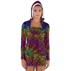 Fractal Art Design Colorful Women s Long Sleeve Hooded T-shirt