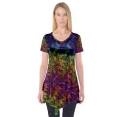 Fractal Art Design Colorful Short Sleeve Tunic