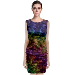 Fractal Art Design Colorful Classic Sleeveless Midi Dress