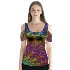 Fractal Art Design Colorful Butterfly Sleeve Cutout Tee