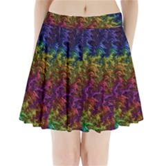 Fractal Art Design Colorful Pleated Mini Skirt