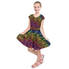 Fractal Art Design Colorful Kids  Short Sleeve Dress