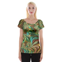 Fractal Artwork Pattern Digital Women s Cap Sleeve Top