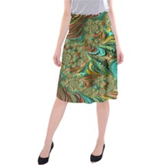 Fractal Artwork Pattern Digital Midi Beach Skirt