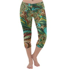 Fractal Artwork Pattern Digital Capri Yoga Leggings