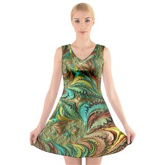 Fractal Artwork Pattern Digital V Neck Sleeveless Skater Dress
