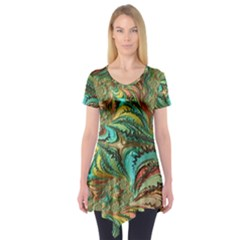 Fractal Artwork Pattern Digital Short Sleeve Tunic