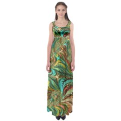 Fractal Artwork Pattern Digital Empire Waist Maxi Dress