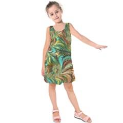 Fractal Artwork Pattern Digital Kids  Sleeveless Dress
