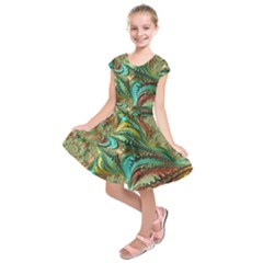 Fractal Artwork Pattern Digital Kids  Short Sleeve Dress