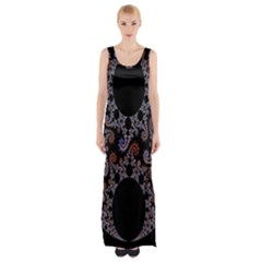 Fractal Complexity Geometric Maxi Thigh Split Dress