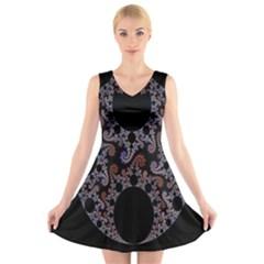 Fractal Complexity Geometric V Neck Sleeveless Skater Dress