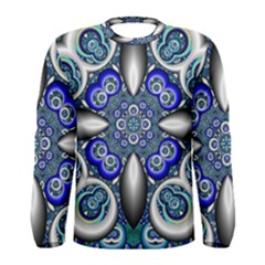 Fractal Cathedral Pattern Mosaic Men s Long Sleeve Tee
