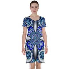 Fractal Cathedral Pattern Mosaic Short Sleeve Nightdress